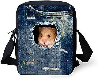 HUGS IDEA Kawaii Hamster Printed Blue Small Messenger Bags Totes Bag Purse for Women Girls