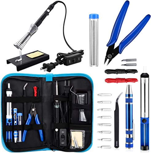 Anbes Soldering Iron Kit, Upgraded 60W Adjustable Temperature Welding Tool with ON-OFF Switch, 8-in-1 Screwdrivers, 2...