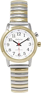 Dakota Ladies Nurse Easy to Read Moonglow Dial Stainless Steel Expansion Stretch Band Water Resistant Watch