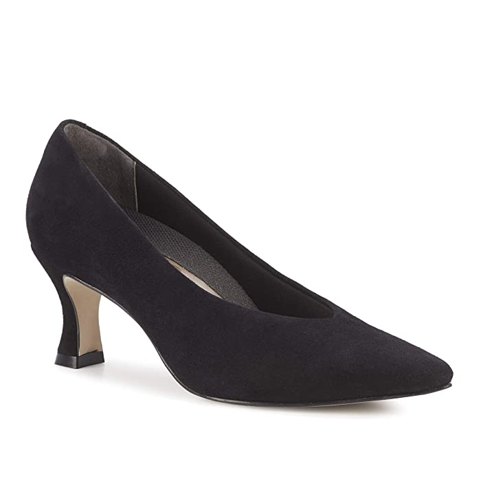 Vintage Heels, Retro Heels, Pumps, Shoes Walking Cradles Sasha Black Suede Womens Shoes $129.95 AT vintagedancer.com