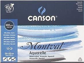 Bloco Aquarela Montval 300 g/m² Grain Fin A-4+ 24x32 cm com 12 Folhas Canson