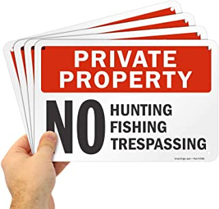 "SmartSign ""Private Property - No Hunting, Fishing, Trespassing"" Sign 