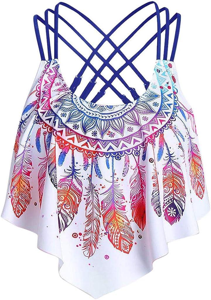 Women's Halter Tankini Swimsuit Top Vintage Print Handkerchief Swimwear Swimsuits