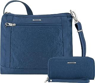 Travelon Anti-Theft Square Crossbody and Wallet Set - Medium RFID Lined Handbag for Travel & Everyday - (Ocean/Teal Interior)