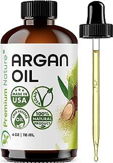 Aceite de argán orgánico, virgen, 100% puro, aceite de argón prensado en frío para el cabello estimula el crecimiento para cabello seco y dañado. Aceite de argán para piel hidratante corporal. Protector de uñas 4 oz
