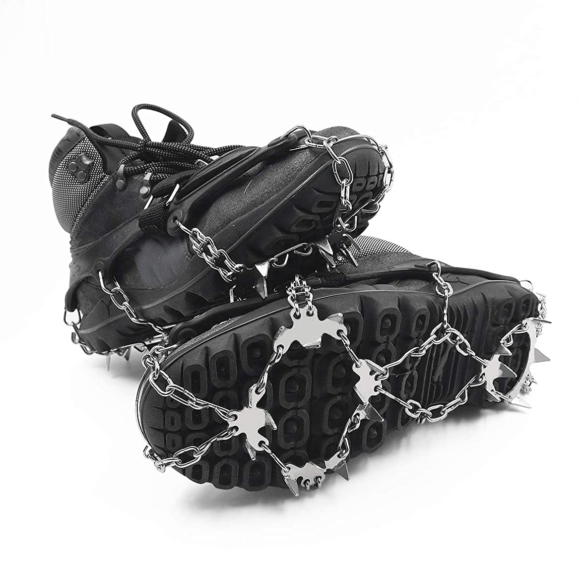 ROCONTRIP Traction Cleats Ice Snow Grips Crampons Anti-Slip Stainless Steel 18 Spikes Crampons for Hiking Fishing Jogging Climbing Walking