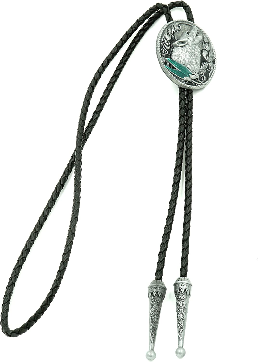 Howling Wolf Enamel Western Tie Today's only Bolo Neck Brand new Leather