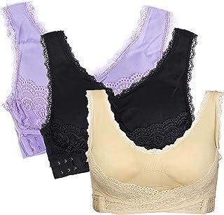 JANSION Women V-Neck Front Side Cross Buckle Bra Lace Bralette Removable Padded Sport Yoga Lounge Bra Bustier