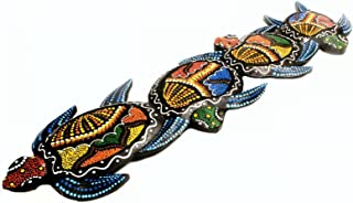 Terrapin Trading Fairtrade Wall Art Animal Wood Carving Handpainted Turtle 50Cm Funky Ornament 809