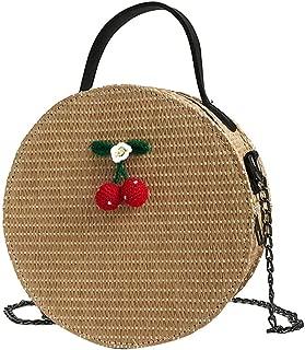 Everpert Round Straw Bag Cherry Women Beach Handbags Straw Messenger Bags