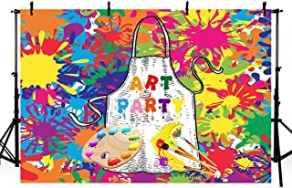 MEHOFOTO Art Painting Birthday Party Backdrops Kids Background Dress for a Mess Let's Paint Splatter Photo Background Graffiti Wall Photography Banner Brush for Cake Table Decorations 7x5ft
