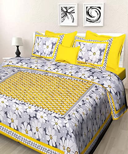 JAIPUR PRINTS 100 Cotton Rajasthani Jaipuri Traditional King Size Double Bed Bedsheet with 2 Pillow Covers Multi