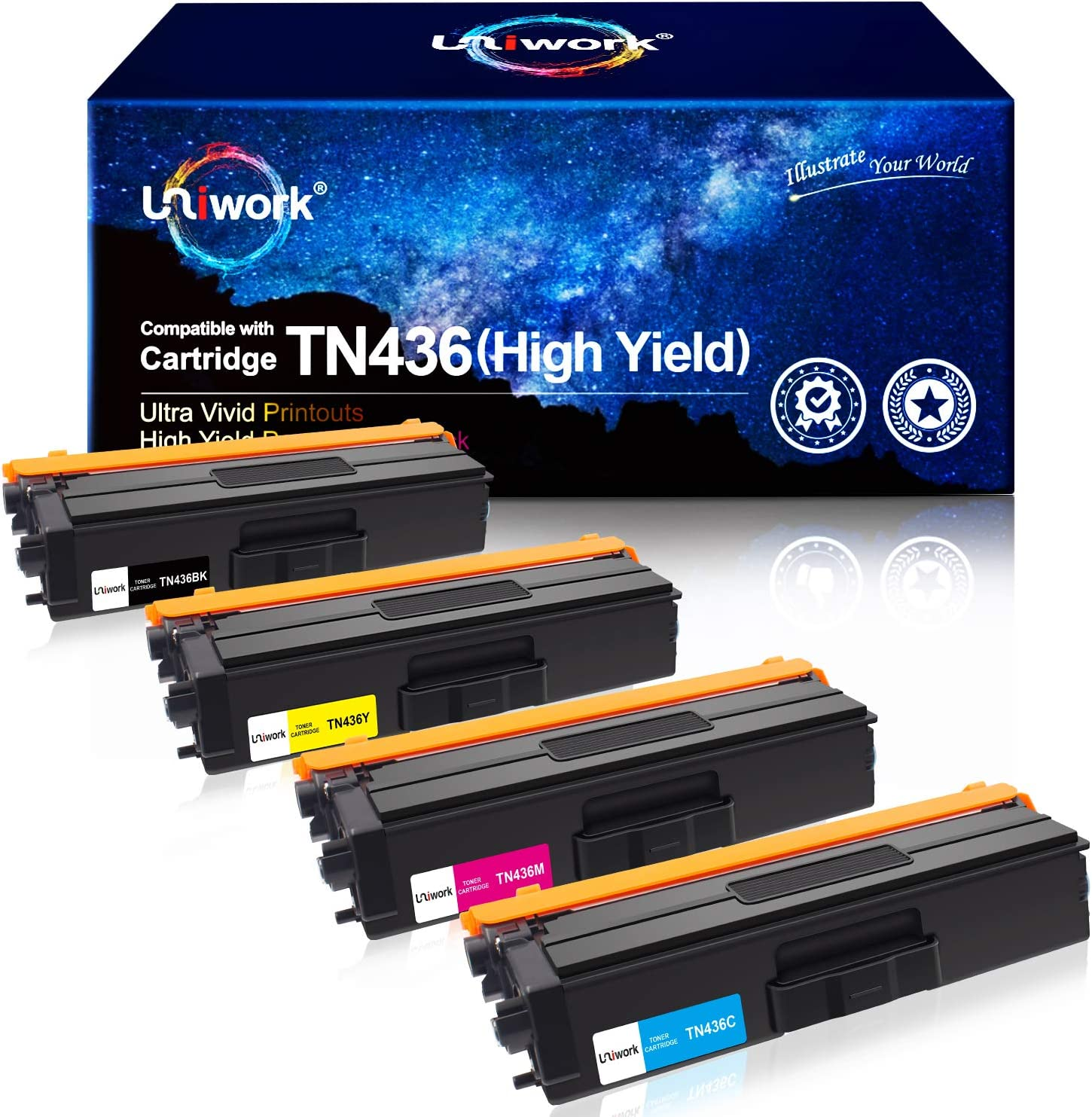 Uniwork Compatible Toner Cartridge Replacement for Brother TN436 TN 436 TN436BK TN433 use with MFC-L8900CDW HL-L8360CDW HL-L8260CDW MFC-L8610CDW MFC-L9570CDW HL-L9310CDW Printer tray (4 Pack)