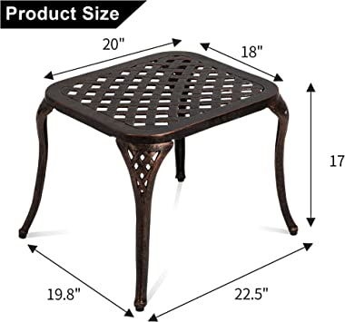 Patio End Table, Outdoor Side Table Cast Aluminum Metal Furniture by HOMEFUN - Bronze