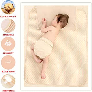 Organic Cotton Waterproof Newborn Infant Baby Bassinet Bedding Mattress Pads Bed Wet Diaper Cradle Crib Stroller Absorbent Changing Mat Nursing Incontinence Sheet for Toddler Adults (Brown-Stripe, M)