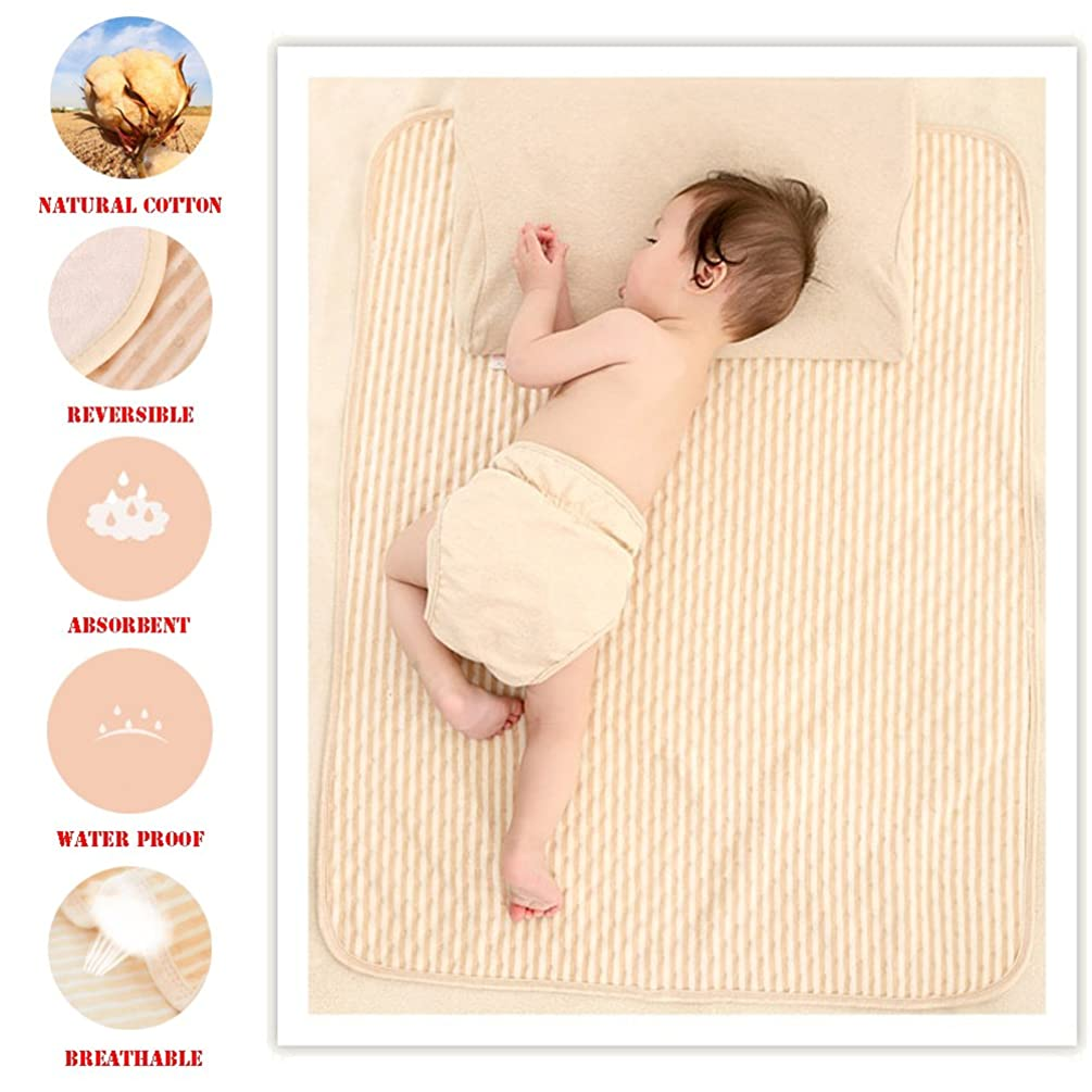 Organic Cotton Waterproof Newborn Infant Baby Bassinet Bedding Mattress Pads Bed Wet Diaper Cradle Crib Stroller Absorbent Changing Mat Nursing Incontinence Sheet for Toddler Adults (Brown-Stripe, P)