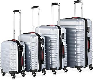 Set de 4 valises rigides Argent S/M/L/XL 4 Roues 360° Bagage poignée télescopique Plastique ABS Serrure Cadenas à Combinai...