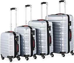 Monzana® Baseline 4er Set Koffer  Silber S, M, L, XL Gelgriffe Zahlenschloss ..