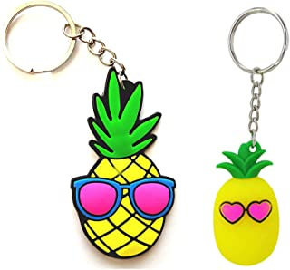 Teal and Gold Pineapple Keychain