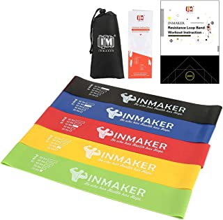 INMAKER Resistance Loop Bands Set, Heavy Exercise Bands for Legs, Set of 5, Fitness Bands for Physical Therapy, 2 Optional Level