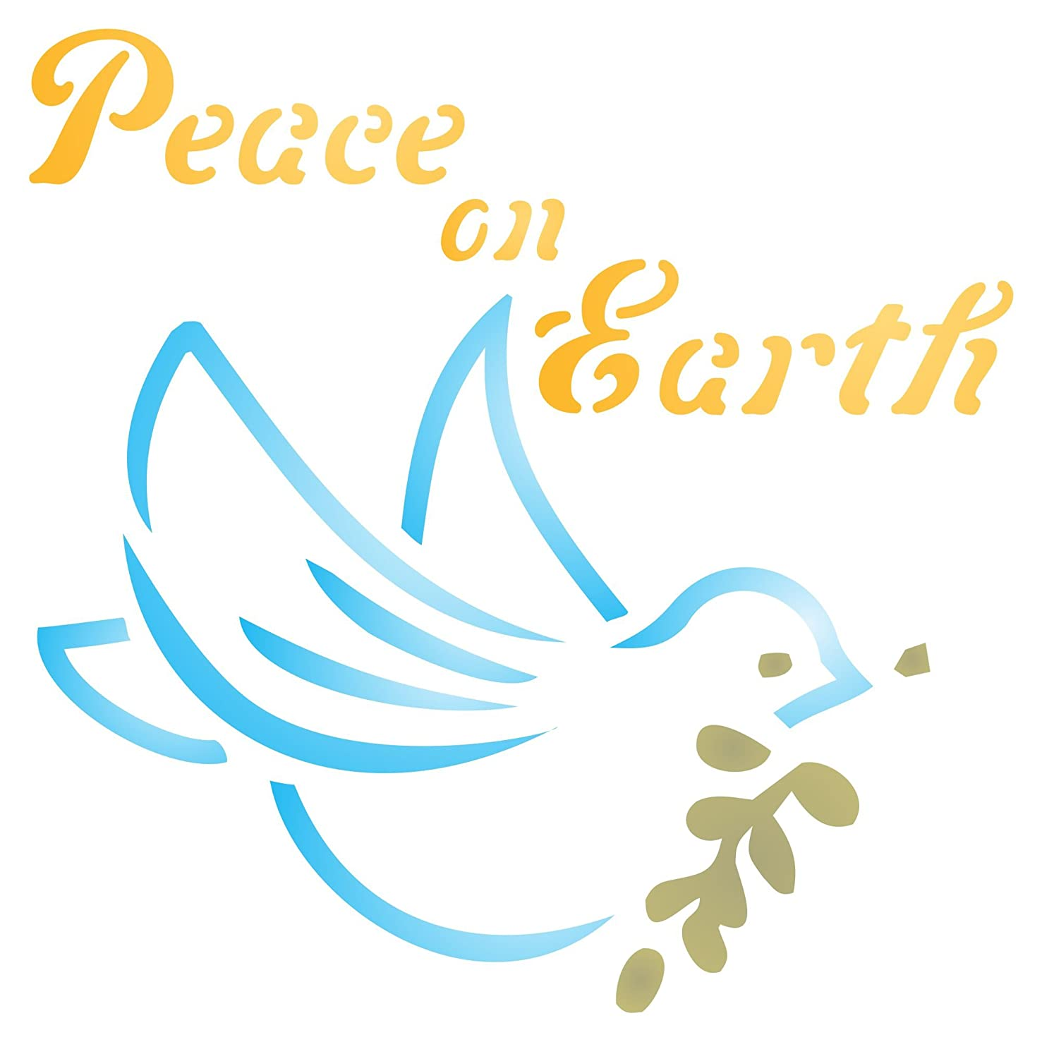 """Peace on Earth Stencil - (size 5""""w x 5""""h) Reusable Wall Stencils for Painting - Best Quality Christmas Card Dove of Peace Ideas - Use on Walls, Floors, Fabrics, Glass, Wood, Paper, and More…"""