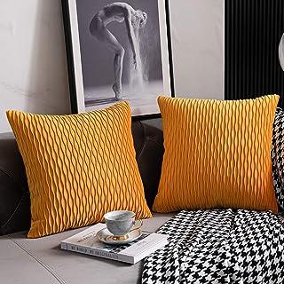 DEZENE Fundas de Cojín del Sofá Amarillo Dorado: 2 Paquetes de 40cmx40cm Fundas de Almohada Cuadradas de Terciopelo a Rayas Originales para la Decoración del Dormitorio en el Hogar