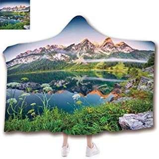 Fashion Blanket Ancient China Decorations Blanket Wearable Hooded Blanket,Unisex Swaddle Blankets for Babies Newborn by,Austrian Alps Mountain Range with Lake Wanderlus,Adult Style Children Style