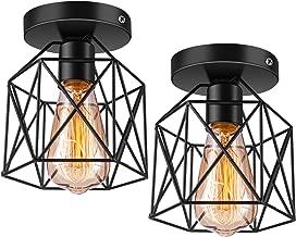 Licperron Semi-Flush Mount Ceiling Light E26 E27 Retro Black Industrial Ceiling Light Fixture for Porch Hallway Kitchen Farmhouse Lighting 2 Pack