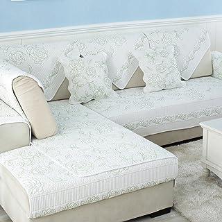 أريكة ذات لون سادة، وسائد للأرائك قماش غير قابل للانزلاق للاستخدام في فصول السنة الأربعة، غطاء للأريكة مصنوع من القطن للشت...