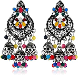 Kofun Earrings, Retro Indian Bollywood Kundan Jhumka Jhumki Drop Earrings Gypsy Fashion Jewelry