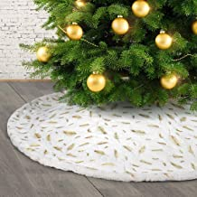 H HOME-MART 35.43inch Christmas Tree Skirt Large White&Gold Luxury Faux Fur with Feather Tree Skirt Christmas Decorations ...