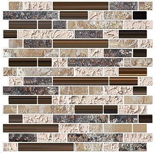 6 unidades 3D autoadhesiva etiqueta engomada del azulejo de la pared, pelar y pegar vinilo Wallpaper Anti molde baño decoración de la cocina 0.84 sq.ft/piece (Estilo de mármol marrón)