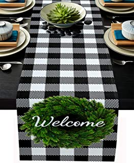 Black Plaid Table Runner, 13 x 120 inch Christmas Welcome Wreath Black and White Buffalo Check Plaid Table Runners Cotton ...