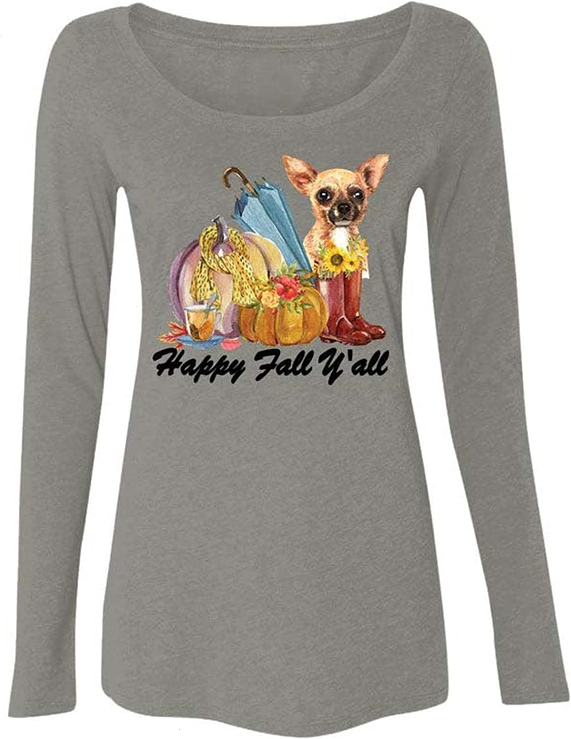 Happy Fall Y'All Chihuahua Autumn Dog Lover Sweatshirt, Autumn Leaves Lovers Shirt, Womens Dog Autumn Fall Graphic Tees