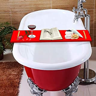 E&F Modern Designs Luxury Bathtub Caddy, Clear Acrylic Bath Tray with Rust-Proof Stainless Steel Handles (Red with Gold Handle)