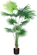 CROSOFMI Artificial Desert Fan Palm Tree 5.2 Feet Fake California Palm Plant,Perfect Faux Fan Palm Plants in Pot for Indoo...