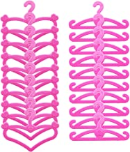 Light Pink E-TING 60 Pcs Dollhouse Clothes Hanger Furniture Playset Decorate Wardrobe Accessories for Girl Dolls Clothes Gown
