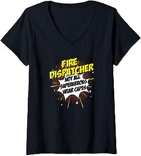 Womens Fire Dispatcher Hero Comic Superpowers Gift design V-Neck T-Shirt