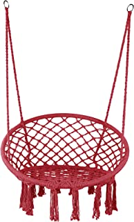 LAZZO Hammock Chair Hanging Knitted Mesh Cotton Rope Macrame Swing, 260 Pounds Capacity, 23.6