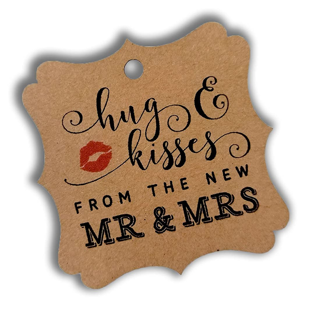 Summer-Ray 100pcs Brown Kraft Elegant Square Hug & Kisses from the New Mr & Mrs Favor Tags Wedding Bridal Shower Anniversary