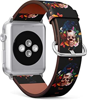 (Floral Skull and Crow Pattern) Patterned Leather Wristband Strap for Apple Watch Series 4/3/2/1 gen,Replacement for iWatch 42mm / 44mm Bands