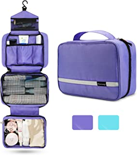 Travel Toiletry Bag for Women, Maxchange Hanging Toiletry Bag with 4 Compartments, Portable and Waterproof Compact travel Bathroom Organizer,Ideal for Travel or Daily Life 6.8L XL Purple