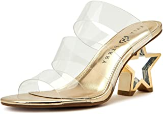 Katy Perry Women's The Star Heeled Sandal, CLEAR, 6.5