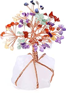 Top Plaza 7 Chakra Healing Crystals Copper Money Tree Wrapped On Natural Clear Quartz Base Feng Shui Luck Figurine
