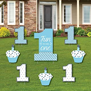 1st Birthday Boy - Fun to be One - Yard Sign & Outdoor Lawn Decorations - First Birthday Party Yard Signs - Set of 8
