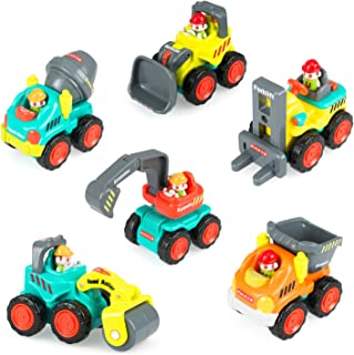 WIDELAND Construction Vehicle Toy Trucks Push and Go Sliding Cars for Baby Toddlers Over 18 Months- Bulldozer, Cement Mixer, Dumper, Forklift, Excavator and Road Roller Colorful Gift (Set of 6 )