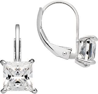 14K Solid White or Yellow Gold Earrings | Princess Cut Cubic Zirconia | Leverback Drop Dangle Basket Setting | 1.0 or 2.0 CTW | With Gift Box