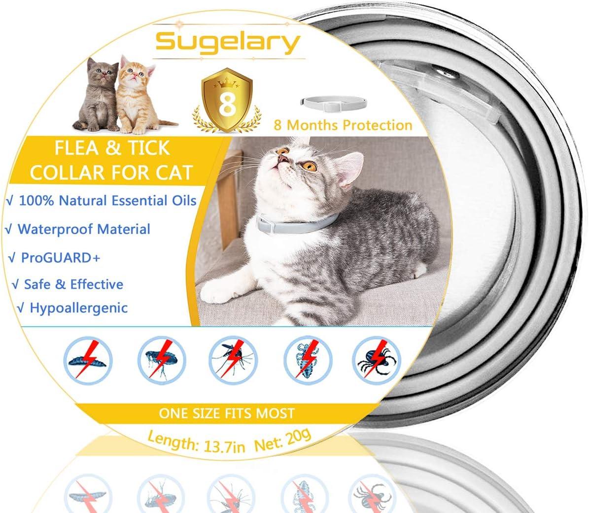 Sugelary Collar Antiparasitario para Mascotas Gatos Plagas Repelentes para Mascotas Agregado con Aceites Naturales, Tamaño Ajustable e Impermeable, Detiene Mordeduras y Picazón (2)