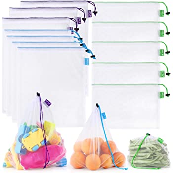 SPLF 12 Pcs Heavy Duty Reusable Mesh Produce Bags, Barcode Scanable See Through Food Safe Mesh Bags with Drawstring for Fruits, Vegetable, Food, Toys, Grocery Storage, Large Medium Small