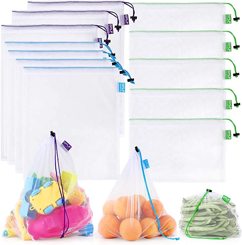 SPLF 12 Pcs Heavy Duty Reusable Mesh Produce Bags Barcode Scanable See Through Food Safe Mesh Bags With Drawstring For Fruits Vegetable Food Toys Grocery Storage Large Medium Small